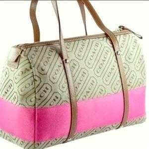 Coach lozenge pink stripe purse